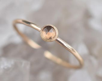 14k Gold Filled Smokey Quartz Stacking Ring;Made To Order; Handmade Jewelry; Dainty Jewelry; Gemstone Ring;Rose Cut; Swiss Made; Handcrafted