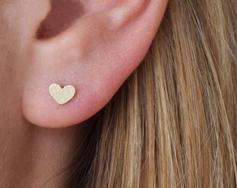 Tiny Heart Stud Earrings; Gold plated; Heart jewelry; Handmade Jewelry; Dainty Jewelry; Dainty earrings; sterling silver 925 ear post