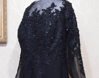 Plus sz 22 Long BLACK COUTURE GOWN heavily beaded lace Beadad Gown