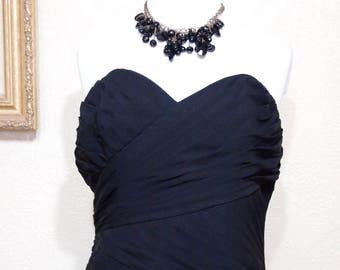 Prom Dress ALFRED ANGELO long jet BLACK Chiffon Bridesmaid dress size 14 Like New