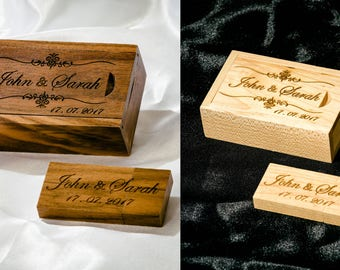 Personalised Gift Wooden USB Stick  16 to 128GB+Box Laser engraved Wedding Photographer, Wedding Photography, Client's package,Unique Custom