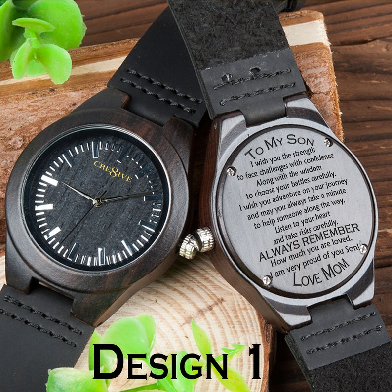 a31b5d82bdf41 BEST SELLER Ebony Wood Engraved Watch For Men Gift For Him Son