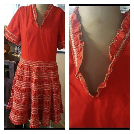 Vintage Spanish Ruffle Patio Dress.
