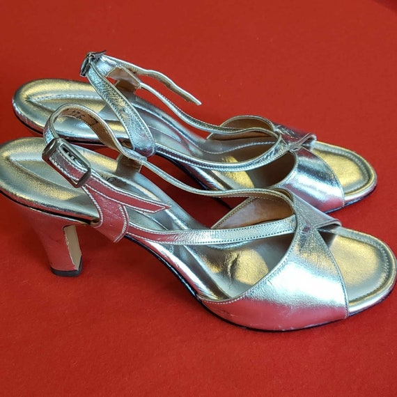 Vintage 60s/70s POLLY of California Silver Heels - image 1