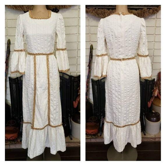 1970's Ivory Cotton Gauze Jute Trim Maxi Dress