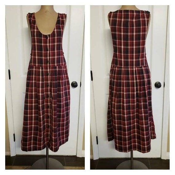 Vintage 1980's Flannel Pinafore Dress.