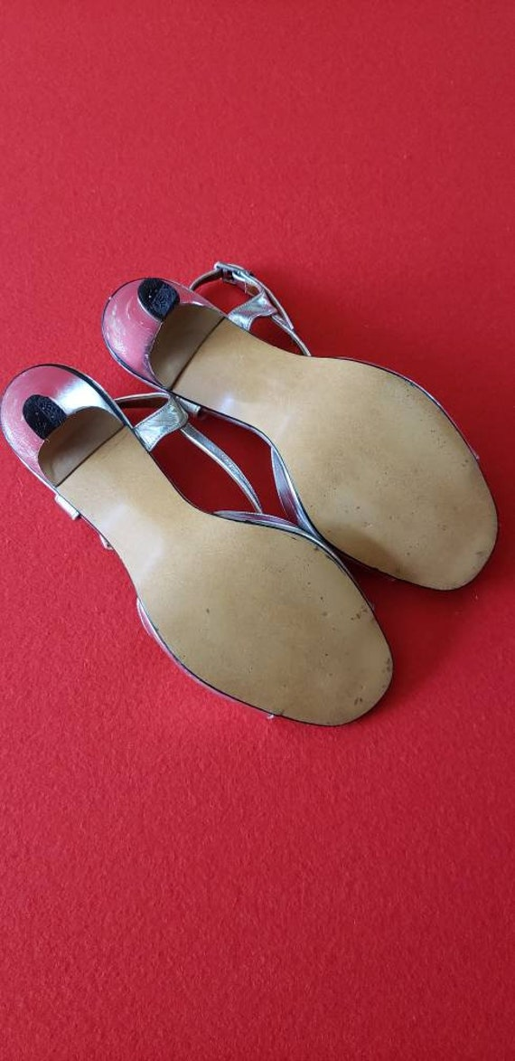 Vintage 60s/70s POLLY of California Silver Heels - image 7