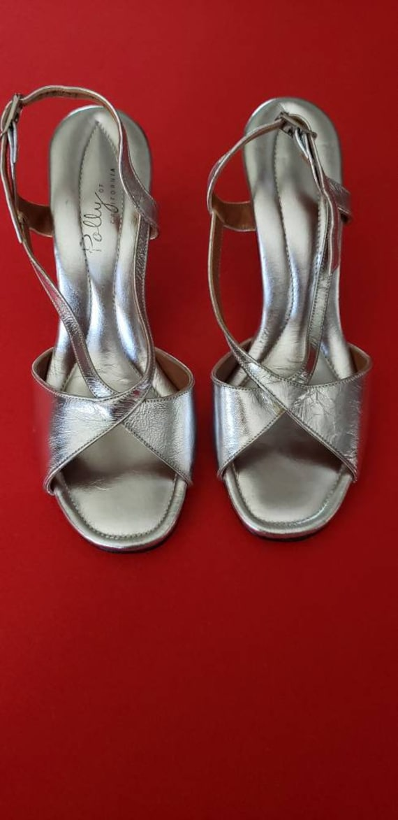 Vintage 60s/70s POLLY of California Silver Heels - image 5