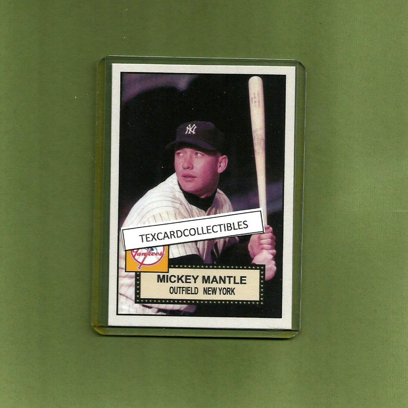 Mickey Mantle New York Yankees New Original Custom Made 1952 Style Baseball Card Mint Condition