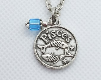 Silver Zodiac Pisces Necklace with Swarovski Crystal Pendant