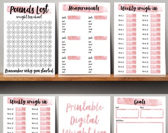 Printable Weight Loss Tracker Journal. Digital Weight Loss Chart, Wkly Weigh In, Measurement Tracker, Goal Setting Weight Watchers Slimming