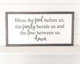 Bless the food before us | Farmhouse Style Sign
