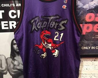 5593e721480c Vintage 90 s Toronto Raptors Marcus Camby Damon Stoudamire Purple Champion  Jersey