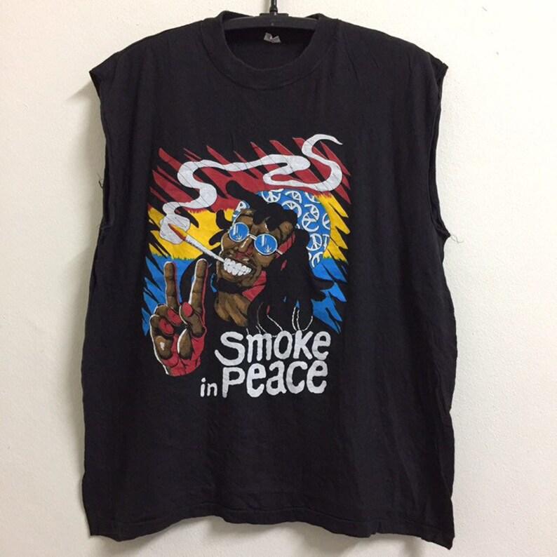 Vintage 90\u2019 Smoke in Peace Sleeveless Tshirt