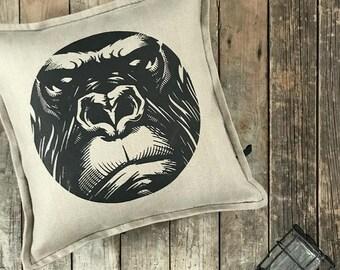 Pearl Grey Gorilla design pillow cover