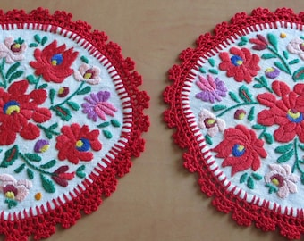 282. Hand embroidered doilie,hand embroidered ,,matyo,, doilie, hand embroidered Hungarian doilie (unused)