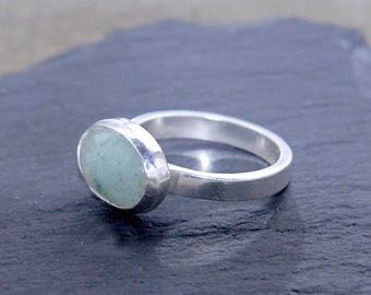 Sterling Silver Polished 14mm x 10mm Oval Light Aventurine Stone Ring