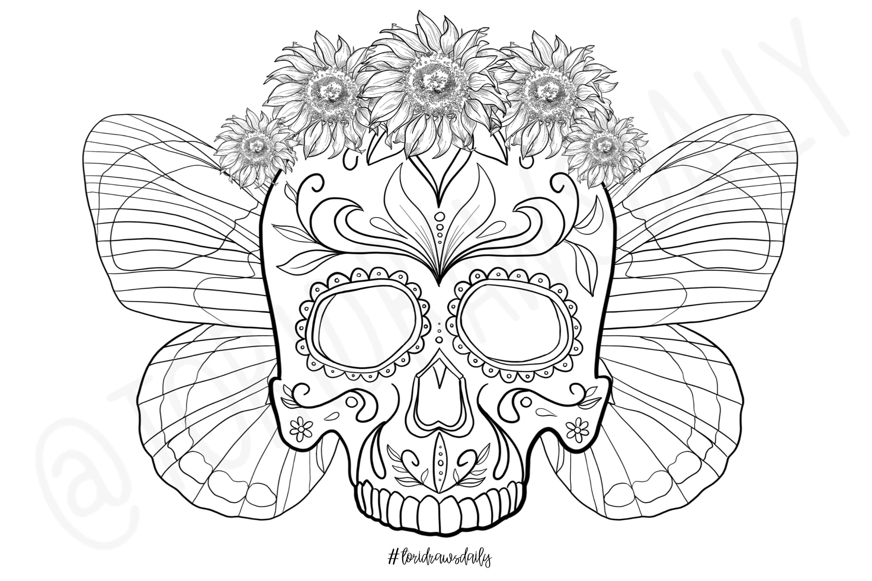 Skull Flower Crown with Butterfly Wings COLORING PAGE | Etsy