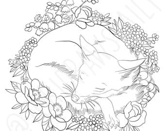 Fox Sleeping With Flowers COLORING PAGE
