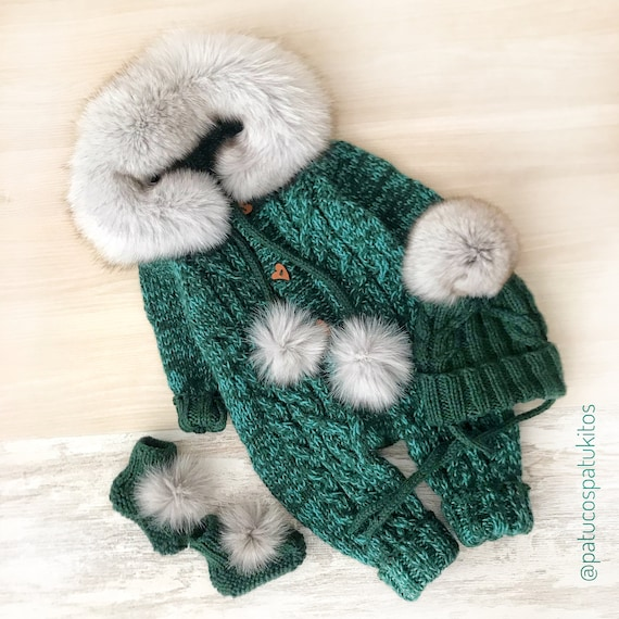 Baby FOX  Knitted Rompers Newborn Child Winter Outfit One-Piece Jumpsuit