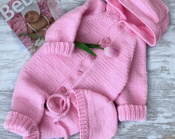 Hand knitted baby romprer + cap