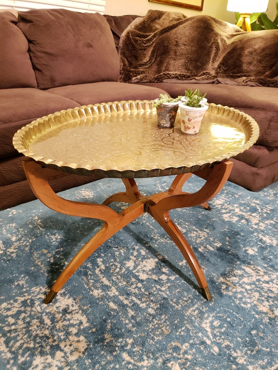 Superb Vintage Brass Moroccan Tray Table With Folding Teak Wood Spider Legs Mid Century Modern Coffee Table Caraccident5 Cool Chair Designs And Ideas Caraccident5Info