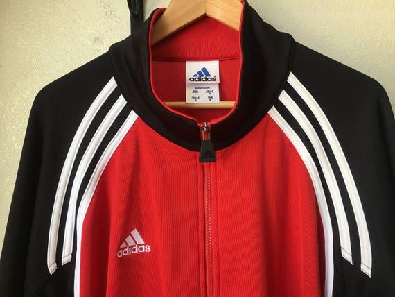 Vintage Adidas rote Track Jacke Pullover Herren groß