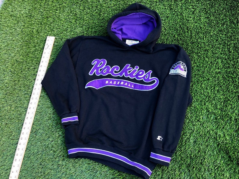 the latest ac4aa e79cb Starter script Colorado Rockies hoodie size XL