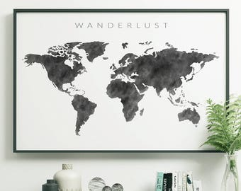 World map wall art etsy black watercolor world map print push pin world map poster black and white watercolor world map printable large world map wall art gumiabroncs Image collections