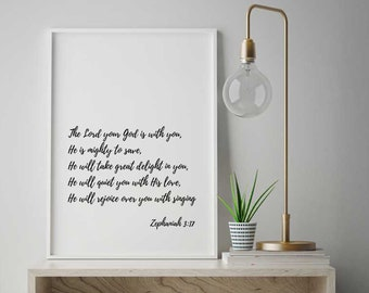 The Lord Your God, Zephaniah 3:17, Scripture Printable, Scripture Wall Art, Bible Verse Printable, Ingrids Download #251