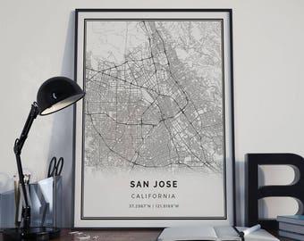 San jose map etsy san jose map poster print wall art california gift printable download modern map decor for office home and nursery mp10 malvernweather Choice Image