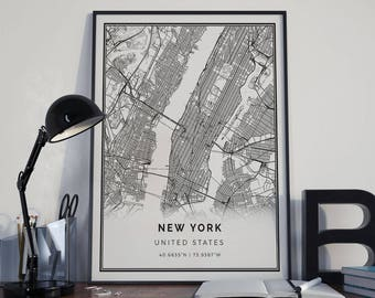 Download New York Map.New York Map Etsy