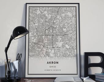 Akron Map Poster Print Wall Art | Ohio Gift Printable Download | Modern Map  Decor For Office, Home And Nursery | MP118