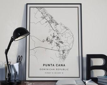 Punta Cana Map Poster Print Wall Art
