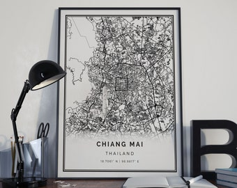 Chiang Mai map poster print wall art | Thailand gift printable download | Modern map decor for office, home and nursery | MP718