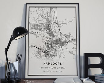 Kamloops map poster print wall art | British Columbia gift printable download | Modern map decor for office, home and nursery | MP370