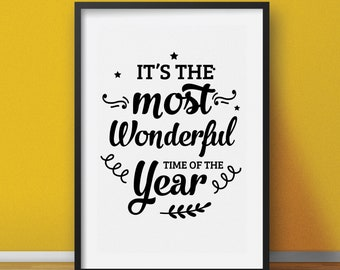 It's The Most Wonderful Time Of The Year, Christmas Printable Decor, Christmas Sign, Holiday Typography decor, Ingrids Download #234