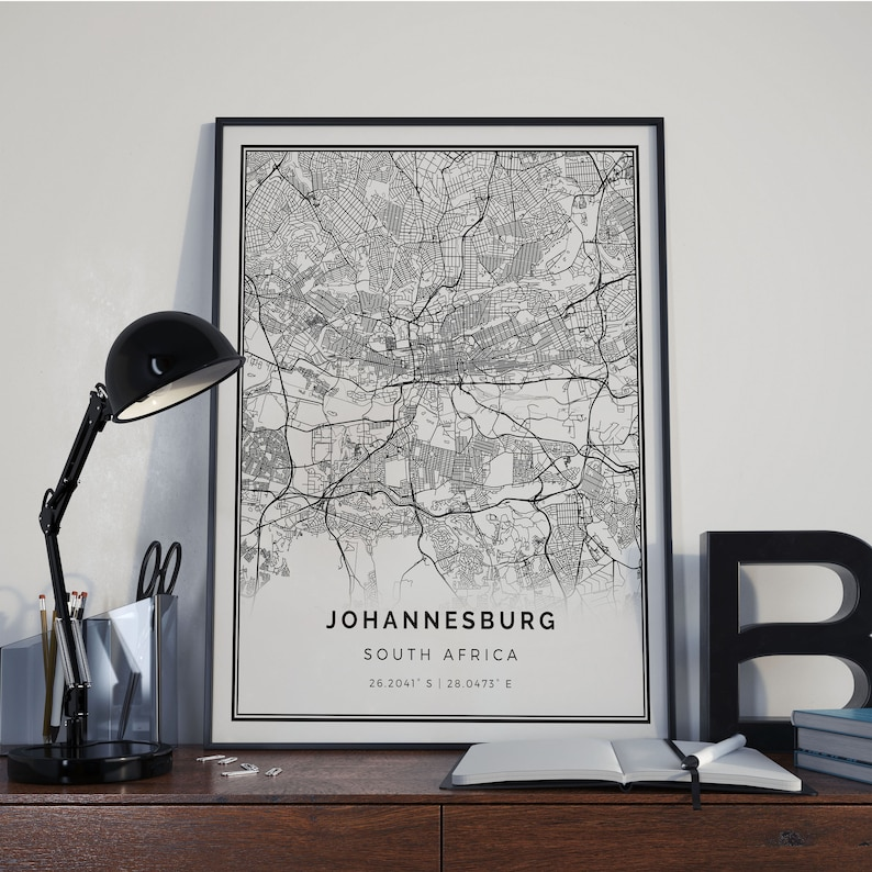 Johannesburg Map Poster Print Wall Art South Africa Gift Etsy