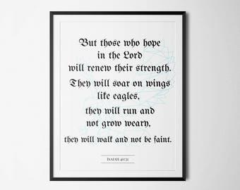 Isaiah 40:31, Bible verse printable, Christian Nursery Wall Art, Christian Gift, Inspirational quote, Scripture Print