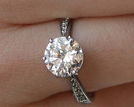 2 Ct Round Cut Diamond Engagement Ring SI1//D 14K White Gold Size 9.0