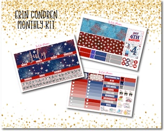 Fireworks July Monthly Kit Planner stickers, Summer July 4th  Monthly view Erin Condren stickers Deluxe Kit planner stickers,