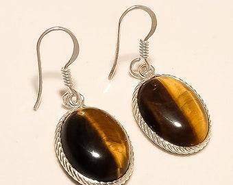 85f455a08 Natural Brazilian Tiger Eye Earring 925 Sterling Silver Earrings Women Fine  Vintage Dangle Drop Jewelry Silver Earrings Valentine Gifts New