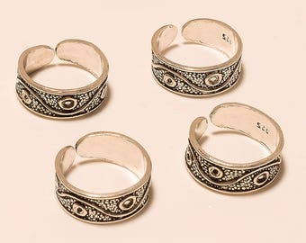 925 Solid Sterling Silver Toe Ring Antique Barefoot Summer 4 Pcs Adjustable Toe Ring Women Bohemian Vintage Retro Tribal Christmas Jewelry