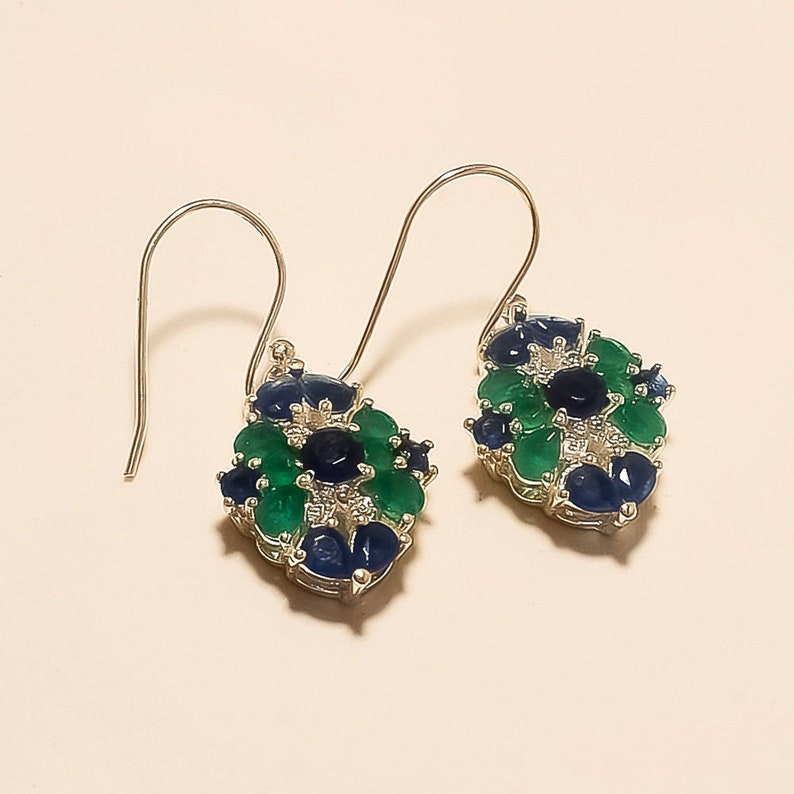 Natural Zambian Emerald Earring Studs 925 Sterling Silver Turkish 2 Tone Jewelry Bridal & Wedding Party Jewelry Jewelry & Watches