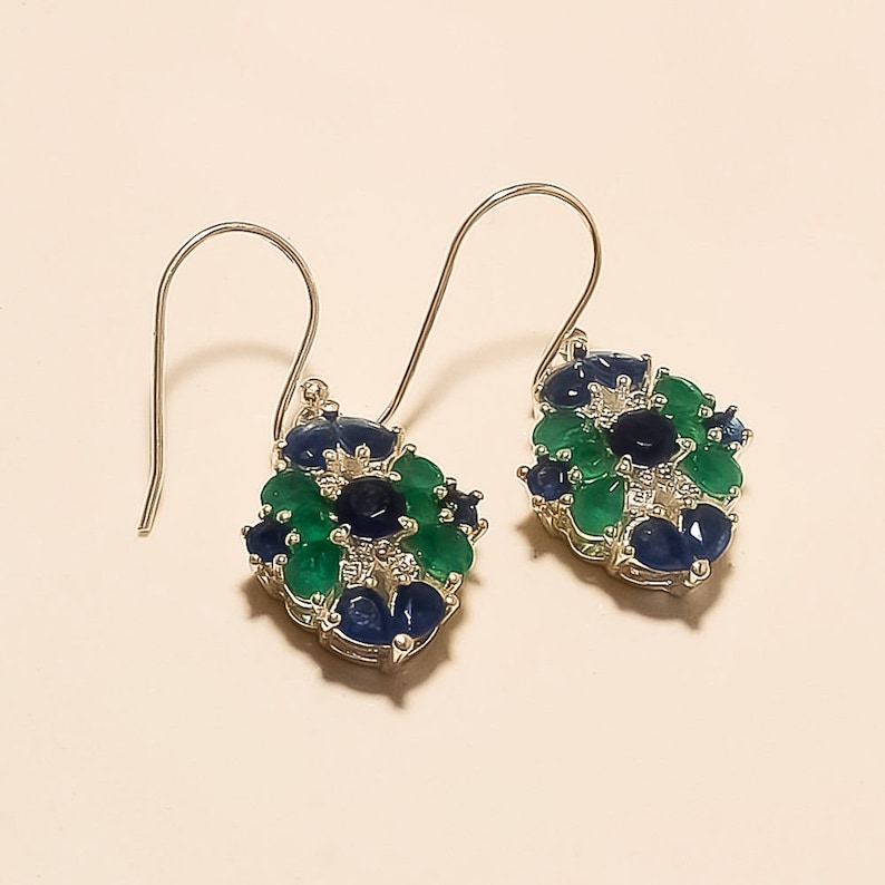 Natural Zambian Emerald Ring Earrings 925 Sterling Silver Two Tone Jewelry Gifts Clothing, Shoes & Accessories