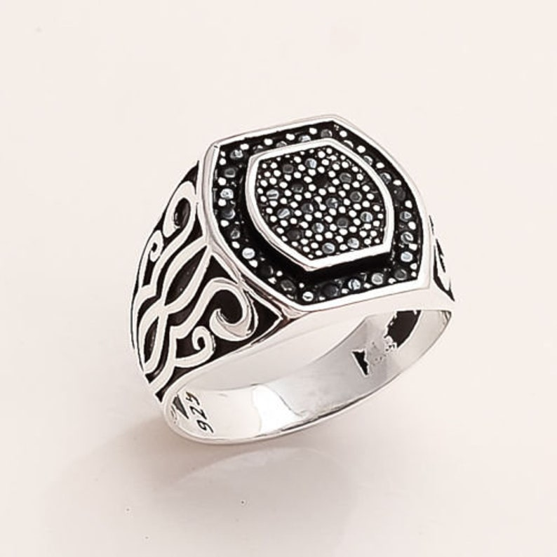 Natural Egyptian Black Spinel  /& Russian White Topaz Ring 925 Sterling Silver Statement Wedding Ring Jewelry Engagement Fine Womens day Gift