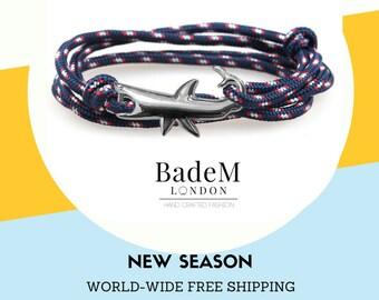 Shark Bracelet - Nautical Rope   Gift for him   Summer Bracelet   Ocean Blue   Navy   Tangerine   Velvet Red