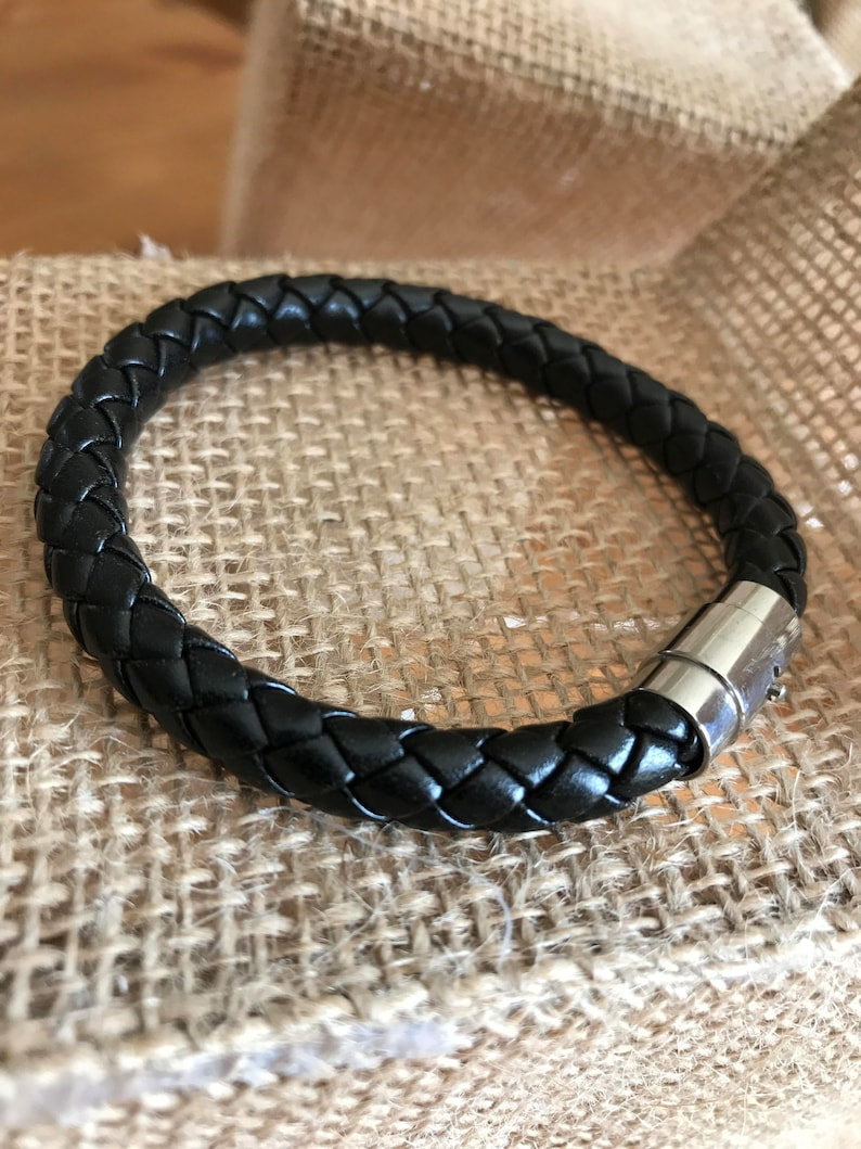 Christmas Gift Beaded Leather Bracelet Hand Crafted 100/% Stainless Silver Steel FREE SHIPPING