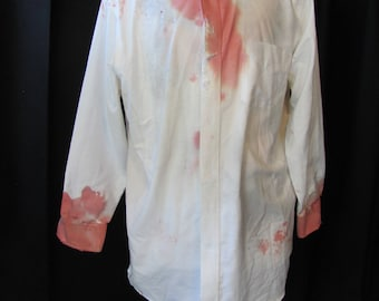 zombie shirt (medium), zombie dress shirt, white shirt, halloween, vampire, costume, undead, walking dead, living dead, accessory, blood, RL