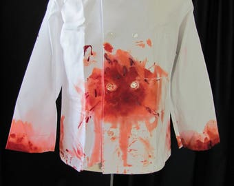 bloody zombie chef jacket (med/lg), bloody chef, long sleeves, butcher, costume, halloween costume, chef costume, undead, walking dead,  #2